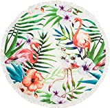 styleBREAKER rundes Strandtuch mit Flamingo, Palmen und Blumen Motiv, Fransen Tuch, Badetuch, Unisex 05050064, Farbe:Mehrfarbig