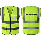 Hi Vis Reflective vest Phone & ID Pockets Logo-Your Delivery Guy (XXL)