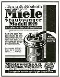 1929 - Anzeige / Inserat auf Hochglanzpapier: MIELE STAUBSAUGER MODELL 1929 - Format 130x95 mm - alte Werbung / Originalwerbung/ Printwerbung / Anzeigenwerbung