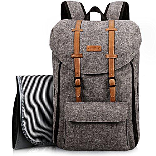 Baby lässig Wickelrucksack Wickeltasche mit Wickelunterlage Multifunktional Oxford Große Kapazität 15 Fächer Babytasche Kein Formaldehyd Reiserucksack für Unterwegs (grau EU5312G)