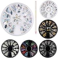 Decoraciones de Arte de Uñas 3D, 6 Cajas de Diamantes Brillantes de Cristales Gemas Coloridas