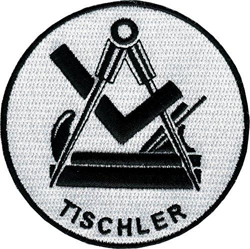 JOB Stick-Aufnäher Patch Zunft Emblem Wappen TISCHLER Ø 8 cm schwarz/weiß (Emblem Uhr)