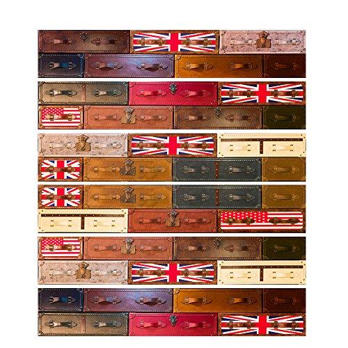 Yongqiang Adesivo Per Piastrelle 3D Adesivo Per Piastrelle Fai Da Te British Valigia Retro Murale Self-Stick Impermeabile, 18X100cm / 6Pcs