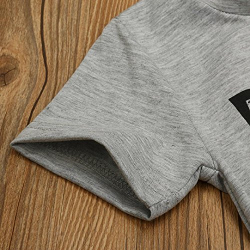 Saingace Enfant Bébé Garçons Lettre Imprimé Chemisier Tops T-shirt Vêtements (Label Size:90(0-12mois), Gris) Gris