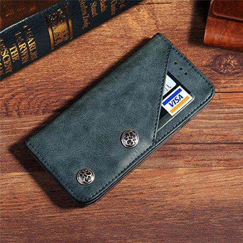 SKKMA Case Cover Pour iPhone 7 motif en texture de bronze Style décontracté Horizontal Flip Stand Housse en cuir avec porte-cartes et embouts de cartes ( Color : Brown ) Dark blue