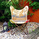 Butterfly Chair Stuhl Schmetterling Handmade with Indian Fabric And Heavy-Duty Canvas–zerlegbar–Easy Assembly, Black Metall Frame