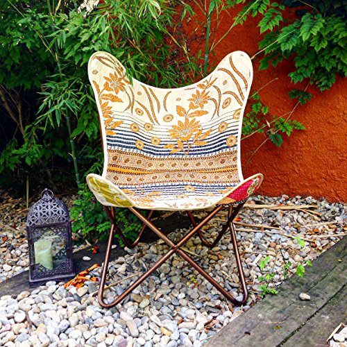 Butterfly Chair Stuhl Schmetterling Handmade with Indian Fabric And Heavy-Duty Canvas-zerlegbar-Easy Assembly, Black Metall Frame (Kantha Stuhl)
