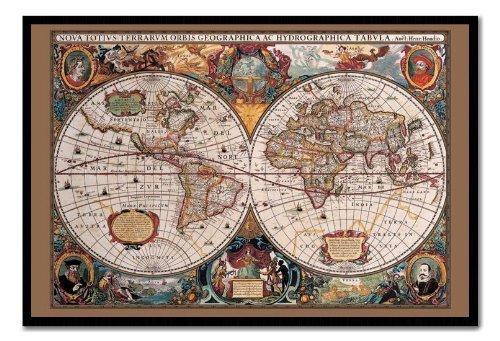 Mappa del mondo Poster stile del XVII secolo con inchiostro oro sughero Pin Lavagnetta Nero Con cornice-96.5x 66cms (circa 96,5x 66cm)