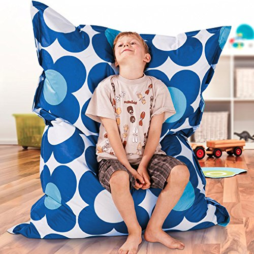 Smoothy KINDER/JUNIOR Sitzsack Indoor/Outdoor BLAU-BLAU High-Tec Nylon 140 cm x 110 cm - wetterfest - Made in Germany - 30 Jahre Garantie