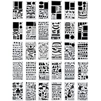 Cusfull 30 Stück Zeichnung Malerei Schablonen Zeichenschablonen Set für Scrapbooking Album DIY Tagebuch Terminkalender Tattoos Machen - 10,2 x 17,8cm
