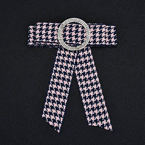 Serired Brosche Zarte Schmetterling-Knoten Runde Diamanten Strick Krawatte Plaid Legierung Festival Geschenk