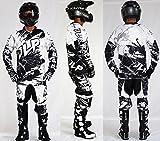 Kinder Outfit 5/6 Jahre Motorrad Cross Quad MTB MTB Hose Handschuhe Trikot weiß JLP Racing Größe 22US/M
