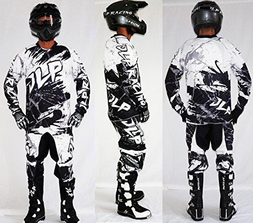 Kinder-Outfit 10/12 Jahre Motorrad Cross Quad MTB BMX Hose Handschuhe Trikot weiß JLP Racing Größe 26 US/XL