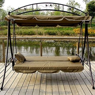 LUXUS Hollywoodschaukel-Gartenschaukel mit Bettfunktion -Breite 215cm-Höhe 219cm-Tiefe 160cm -Modell:GEA-Braun-Belastung 200Kg