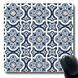 Luancrop Mousepads Patchwork-Muster Herrliche weiße Blaue marokkanische portugiesische Azulejo-Weinlese-Arabeske-spanische Wand-rutschfeste Spiel-Mausunterlage Gummi-längliche Matte