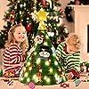 Outgeek Feltro Albero Natale, Albero di Natale dai da Te con 50 luci a LED 18 Pezzi Ornamenti per i Bambini Regali di Natale Decorazione della Porta della Porta di Casa