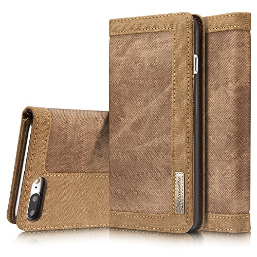Preisvergleich Produktbild Roreikes Apple iPhone 7 Plus Hülle, iPhone 7 Plus Case (5.5 Zoll), [Denim-Serie-Mappen-Kasten] echten Premium Leinwand Flip Folio Denim Abdeckungs-Fall, Slim Case mit Ständer Funktion und Identifikation-Kreditkarte Slots für Apple iPhone 7 Plus (5.5 Zoll) - Braun