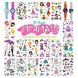 MAPLE UK 20 Fogli Sirena Tatuaggi temporanei per i Bambini Rimovibile Adesivo Tatuaggio per Le Ragazze Principessa Tatuaggi Bambini Tatuaggi Perfetto Partito Bag Filler (Sirena)