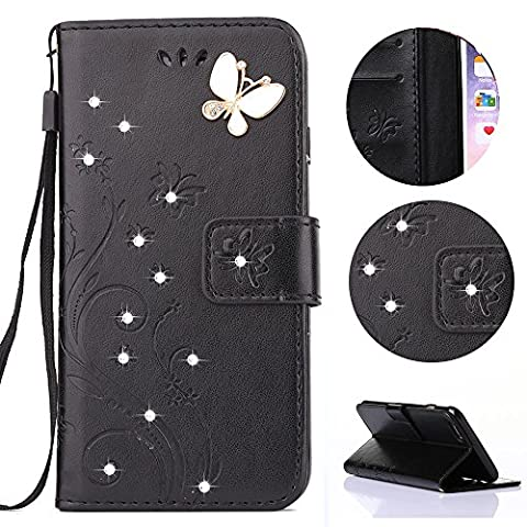 Sycode Case for Galaxy S7 Edge,Wallet Case for Galaxy S7 Edge,Flip Case for Samsung Galaxy S7 Edge,Embossed Butterfly and Flowers DIY Premium Pu Leather Luxury Bling Glitter Crystal Diamond Rhinestone Shiny Sparkle Elegant Book Style Lanyard Hand Wrist Strap Magnetic Buckle Closure Protective Wallet Case Cover with Card Slots and Stand Function for Samsung Galaxy S7