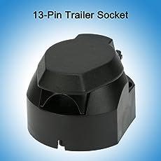 kkmoon 12V 13-pole Anhängerkupplung-Frosted Material 13-polig Trailer Socket N type-vehicle Ende mit Anzeige,