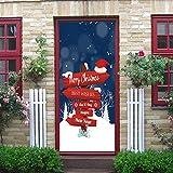 Gaddrt Christmas Wall Sticker Wandaufkleber Weihnachtselfen-Türabdeckung Holiday bedeckt Dekoration 30-Zoll durch 6.5-Fuß 77x200 cm (K)
