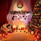 Coxeer Weihnachtskranz, Türkranz Weihnachten Weihnachtsdeko Kranz Weihnachtsgirlande mit Kugeln Handarbeit Weihnachten Garland Deko-Kranz (Mehrfarbig-Bell) - 2