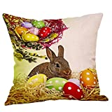 DIPOLA Easter Linen Square Rabbit Throw Pillow Case Cintura Cojín Cubierta Decoración para el hogar 【Serie 4】