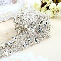 Oro / Sliver Rhinestone tejido recorte largo cinturón de cristal para los vestidos de boda (plata)