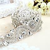 Tessuto in strass oro / sliver strass rifinito lungo cintura di cristallo per abiti da sposa (argento)