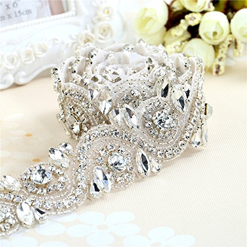 più foto 4b8e5 cc1c9 Tessuto in strass oro / sliver strass rifinito lungo cintura di cristallo  per abiti da sposa (argento)