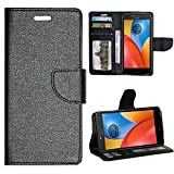 Zaoma Diary Wallet Type Flip Cover for Motorola Moto E4 Plus - Black