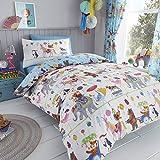 Happy Linen Company Set de Fundas Infantiles para edredón - Reversible - Estampado de Animales de Circo - Azul/Blanco - Individual