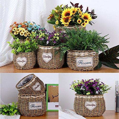 geflochtene Blumentopf Pflanzer nach Hause dekorative Seegras Speicher Korb Pflanze Halter kleine Lagerplatz (Dekorative Speicher-körbe)