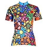KMFEEL Popular Colorful Flower Zipper Closure Women Short Sleeve Cycling Shirt Jersey Sportswear S