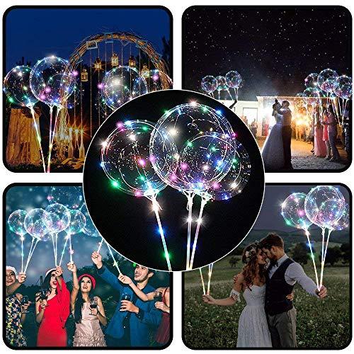 FeiliandaJJ LED Ballon Transparente mit Ballonhaltern Geliefert Glühende Laterne Tube mit Glühenden Luftballons Wiederverwendbare Dekorations Festivals Partys Hochzeiten (Mehrfarbig)