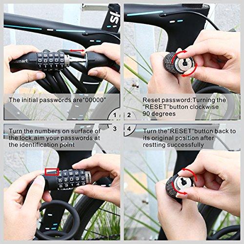 Fahrradschloss, Blusmart Fahrrad Sicherheitsschloss mit 5 stelligem intelligentem Code und Fahrradhalterung, 1,8 m lang - 7