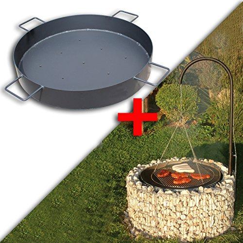 Bellissa Gabionen Feuer- und Grillstelle inkl. Kohleschale und Galgengrill