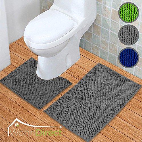 WohnDirect Badematten Set 2tlg – 2 x Badvorleger 45 x 45 cm + 70 x 120 cm – Badteppich Rutschfest & Waschbar mit WC-Ausschnitt