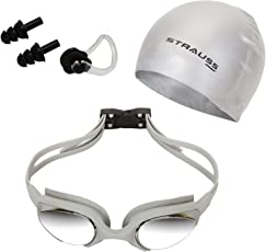Strauss ST-1345 Plastic Swimming Goggles Set (Grey)