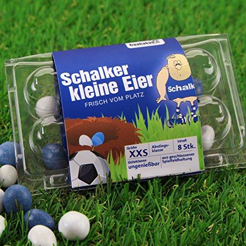 Schalker kleine Eier - Bayern-, Dortmund- und alle Fußball-Fans aufgepasst. Witziges Geschenk zu Ostern, Ostergeschenk für Freunde, Kollegen, Geburtstage und Partys zum Verschenken und Vernaschen - Süßigkeiten, Schokoladeneier, Fruchtgummi