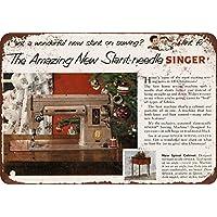 1952 Slant-Needle Singer máquina de Coser Vintage Look Reproducción Metal Sign 12 x 18