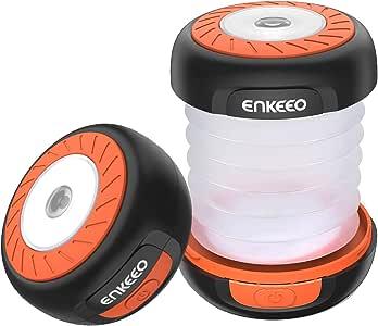 ENKEEO Lampe Lanterne Camping Pliante avec 3 Piles AA, étanche et durée Max 50H pour Tente, Travaux ou Chasse