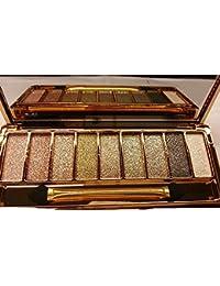 Finejo Women 9 Colors Waterproof Makeup Glitter Eyeshadow Palette with Brush