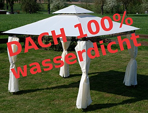 ASS Eleganter Gartenpavillon Pavillon 3x3 Meter, Dach 100% wasserdicht UV30+, mit 4 Vorhängen Modell: 7075-3x3 von