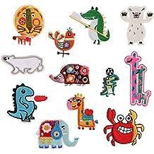 12 parches infantiles, diseño de animales, para planchar o coser, para niños,