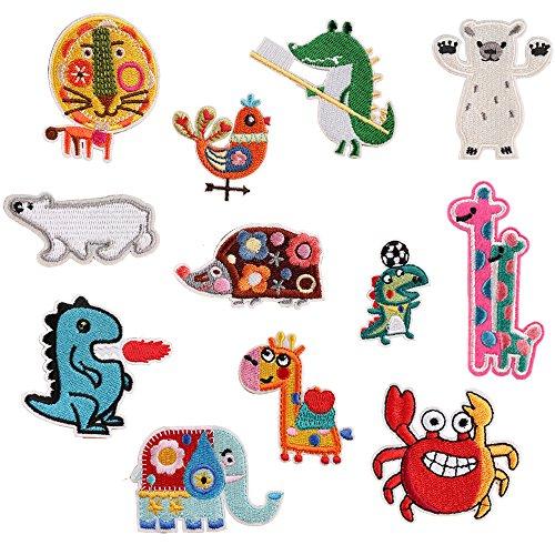 Aufnäher mit schönem Tiermotiv für Kinder: Bär, Löwe, Elefant, Giraffe, Dinosaurier, zum Aufbügeln oder Aufnähen, für Jeans, Kleidung, Jacke, Rucksack, Schal, Kissen, 12 Stück