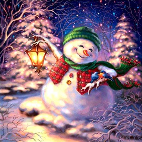 Xshuai 5D DIY Diamond Embroidery Painting Kits animals series cat/dog/eagle/Christmas snowman Rhinestone Cross Stitch Cute Colorful Creative Waterproof Canvas Decoration New Art Mural (D)