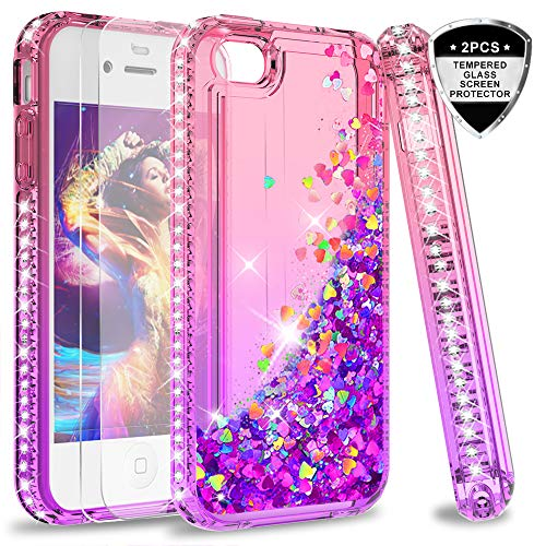 LeYi Hülle iPhone 4 / iPhone 4S Glitzer Handyhülle mit Panzerglas Schutzfolie(2 Stück), Diamond Cover Bumper Schutzhülle für Case iPhone 4 / iPhone 4S Handy Hüllen ZX Gradient Pink Purple