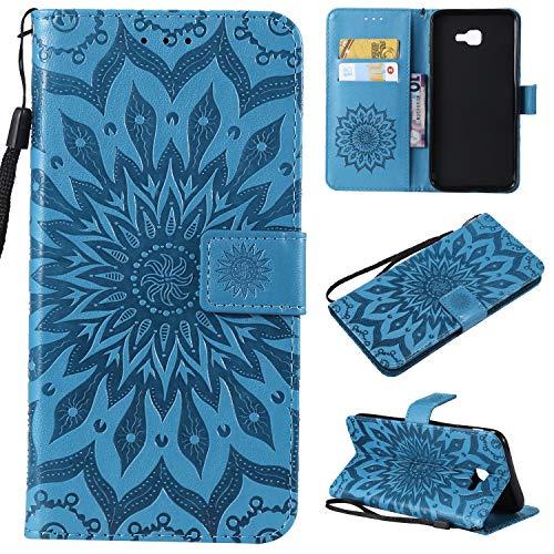 kelman Handyhülle für Samsung Galaxy J4 Core Hülle Schutzhülle 3D Sonnenblume PU Leder + Soft Silikon TPU Innere Schale Mode Prägung Brieftasche Flip - [Blau]