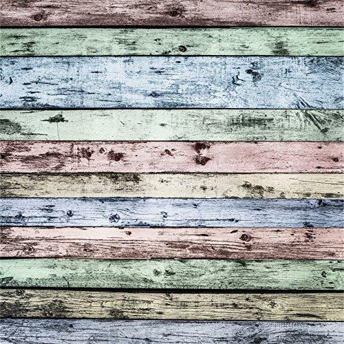 Distressed Holzböden (YongFoto 3x3m Vinyl Foto Hintergrund Holzoptic Distressed Holz Lackiert Farbe HolzHolz Brett Fotografie Hintergrund für Photo Booth Baby Party Banner Kinder Fotostudio Requisiten)